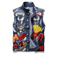 Classic Vintage Uomo Più Badge Denim Vest Top senza maniche Jeans Jacket Slim Fit Painted Fashion Designer Lettere patchwork Gilet 911