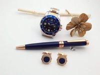 الفاخرة الأزرق الكلاسيكية ارتفع الذهب كليب قلم حبر جاف الثمين، ووتش، أزرار الكم، المحفظة رائعة مكتب القرطاسية الأزياء هدية مع علبة هدية