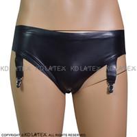 Black Sexy Low Waist Latex Panties With Garters Rubber Briefs Underpants Underwear 0133