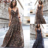 패션 섹시한 드레스 레오파드 V 넥 스파게티 스트랩 맥시 드레스 여성 여름 쉬폰 비치 롱 드레스 여성 가운 NB - 1031