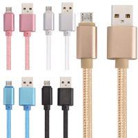 Kumaş Kalın OD 4.0 Örgülü Kablo 1 M 2 M 3 M Alüminyum Alaşım Mikro Tip C USB Veri Şarj Kablosu Samsung S7 S8 HTC için