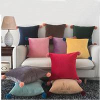 45*45 cm funda de almohada 10 estilos sólido Color caramelo cojín cubre nórdico moderno minimalismo caqui amarillo almohada cubierta T2I5316