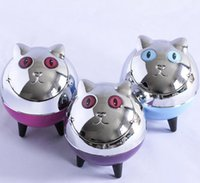 Creative Cat Face Metal ABS Ashtray Press Rotary Flip cover ...