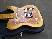 Personalizzato Masterbuilt Dale Wilson 1969 Omaggio Oro Burst Paisley Tele chitarra elettrica, Acero Tastiera Black Dot Inlay, vintage sintonizzatori