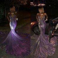 2020 Glitter sirena lunga ragazza nera che vestiti da promenade fuori dalla spalla Sweetheart Corte dei treni viola paillettes africano sera del vestito convenzionale