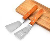 Acciaio inossidabile cottura friggendo pala di legno manico di ferro Piastra masterizzazione Leak Pala Di carne di manzo frittura pala attrezzo della cucina XD23360