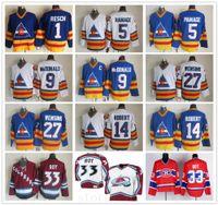 Vintage CCM Колорадо Эвеланш 33 Патрик Руа Джерси прошитой Hockey 27 Джон Уэнсинк 5 Роб Рамаж 14 Рене Роберт 9 Лэнни Макдональд трикотажных изделий