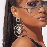 Las mujeres clásico de la manera Pendientes grandes del aro de las señoras del dólar estadounidense elegantes diamantes Charm Rhinestone joyería del regalo del partido del club nocturno Pendientes cuelgan