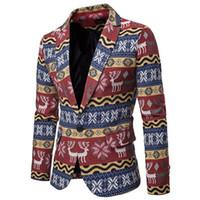 Мода Мужчины Взрослые Рождественские Костюмы Рождественские Костюмы Смешные партийные Костюмы Санты Печать Blazer