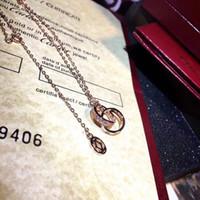 뜨거운 판매 S925 실버 두 개의 고리가 짧은 목걸이 레이디 파티 웨딩 선물 PS7024 다이아몬드를 빛나게 펜던트 목걸이를 연결