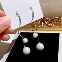 concepteur de la géométrie nouvelle tendance de la mode ins spéciaux gros chaud perle boucles d'oreille linéaire pour les filles femme lustre balancent