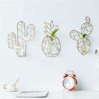 Colgando nórdico planta hidropónica adorno de vidrio transparente metal creativo florero estante de exhibición Inicio Decoración de pared Sala