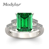 Vagzeb 2019 New White Gold Color Ring Fashion Green Big Squa...