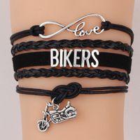 La moda de los motoristas Carta motocicleta pulseras del encanto para los hombres de las mujeres del motor cuerda ciclo de la joyería de cuero del abrigo de la manera del brazalete Deporte