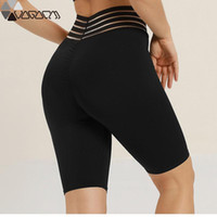 Active Yoga Femmes Gym haute compression Shorts taille Rouge Solide Mujer Fitness Sport Jogging Athletic Femme cycliste talonnage Shorts