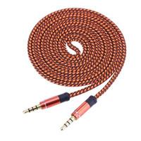 ALEADO 1pc 3.5mm Conector de Metal Trenzado de Nylon Macho a Macho Cable de Coche Cable de Audio AUX para Reproductor de Música Teléfono Auriculares Portátiles Envío Gratis