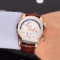 Ucuz Yeni Master Grande Tarih Q1522420 Güç Rezervi Beyaz Kadran Otomatik Mens Watch Gül Altın Vaka Kahverengi Deri Kayış Spor Gents Saatler