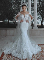 Gorgeous Mermaid Wedding Dresses With Long sleeves Lace Appl...