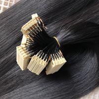 6D наращивание волос завод Индийские девственницы REMY волосы 1B Цвет 0,5 г / прядь 100strands / Lot 6D наращивание волос