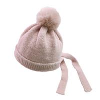 cappello di lana autunno e bambino di inverno tappi per le orecchie al caldo cappello lavorato a maglia autunno batuffolo di bambino 2020 bambini protezione infantile