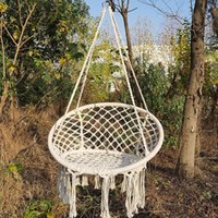 Безопасный Бежевый висячие Гамак Кресло Свинг Rope Открытый Закрытый Бар садовое Ленивый Стул складной Сад Нет Палочки Dropshipping