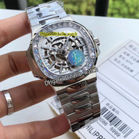 Nouveau Sport 5713/1 5711 / 1A Squelette blanc Cadran HK 4813 Montre automatique pour hommes Big Diamond Bezel bracelet en acier inoxydable PPHW montres 6Couleur