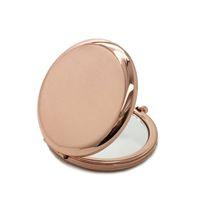 Doble maquillaje del espejo del lado del metal plateado de oro rosa de oro de bolsillo plegable cosméticos espejo de aumento belleza HHA219-1 Herramienta