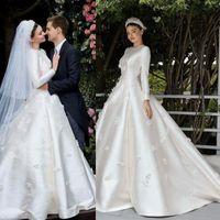 Miranda Kerr abiti da sposa a maniche lunghe 2020 Modest Jewel Medio Oriente musulmano 3D principessa floreale nuziale di sfera vesti de mariée