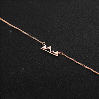snow mountain peak adventure mountaineering top Chain bracelet outdoor natural geometry triangle movement Lucky woman mother men's family gifts jewelry