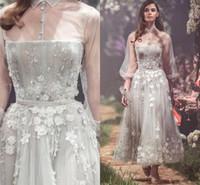 2019 Silver Grey New Modern Vestidos Flores Tulle com Sheer Collar Poet mangas Beads Prom Party Vestido tornozelo comprimento Formal Wear