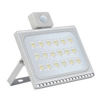 EU Stock 30W 50W 100W LED Flood luz com PIR Motion Sensor ultrafinos branco fresco 110V Spotlight impermeável ao ar livre