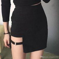 Sexy Spy Frauen Röcke Mini Asymmetrische Röcke Schwarz Hohe Taille Weiblicher Rock Design Röcke Weibliche Persönlichkeit Party Rock