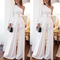 İki Parça Geniş Tulum Beyaz Abiye Kadın Pantolon Takım Elbise Bir Omuz Şair Uzun Kollu Rahat Balo Parti Abiye Custom Made