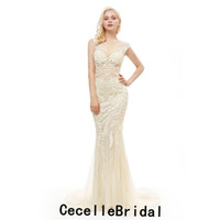 2019 Nova Bege Sereia Longos Vestidos de Noite de Luxo Sem Mangas Major Beading Sexy Sheer Top Trem Da Varredura Das Mulheres Formal Evening Party Gown