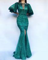 반짝이 스팽글 에메랄드 녹색 인어 이브닝 드레스 퍼프 슬리브 프론트 분할 열쇠 구멍 긴 공식 무도회 드레스 2019 크리스탈