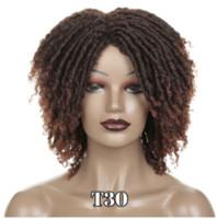 소프트 짧은 합성 가발 흑인 여성의 높은 온도 섬유 Dreadlock 옹 브르 커피 브라운 크로 셰 머리가 발을 트위스트