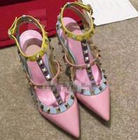 as bombas de venda-V Hot Rebites saltos altos com tira preta genuíno casamento do couro sapatos de couro da mulher 10CM sapatos de salto alto 35-43