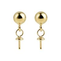 10 coppie all'ingrosso oro Vermeil 925 Sterling Silver post i risultati degli orecchini 5mm sfera Dot orecchini Componenti