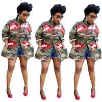 Новые Стили Осень Женщины Камуфляж Пальто Красный Блестки Милый Узор Длинные Рукава Большие Карманы Мода Леди Куртки Повседневная CoatsOutwear 2020
