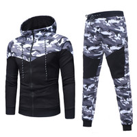 2019 atmungsaktiv Sport Herrenbekleidung Herren Herbst Winter Camouflage Sweatshirt Top Hosen Sets Sportanzug Trainingsanzug # 727