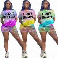 Eu não posso respirar Mulheres Suit Eu não posso respirar Tie-dye Letters Fatos T-shirt Verão Buracos Ripple Shorts Two Piece Set D61707 Vestuário casual
