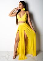 Sexy 2 Stück Chiffon Spaghetti trägerloses Kleid 2019 Frauen Sommerkleid Sexy Ärmel Gelb Backless zwei Stück-Split Weiß Maxi-Kleid