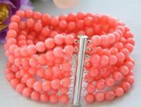 """Real 8row 7.5 """"6 MM rodada rosa coral talão pulseira ímã whosale Genuína jóias de prata Casamento"""