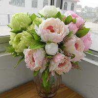 Teste autunno decorazione domestica Wedding Decoration Mariage Rose fai da te 7 Peony bouquet di fiori falsi Peony fiori artificiali Piante