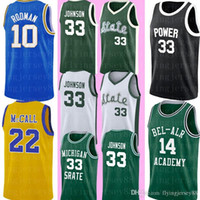 Michigan State 33 Earvin Johnson Jersey Barato Magic Johnson Green White College Baloncesto Jersey cosido Logos S-XXL