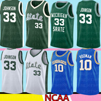 NCAA Michigan State Spartans Earvin Magic Johnson 33 Verde Blanco Colegio Larry Bird 33 Escuela Superior de Baloncesto Jersey