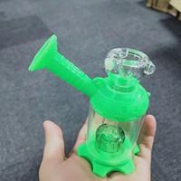 Verre Unique Eau Bongs 50 mm Mini-Bong Assemblez verre silicone Water Pipe Pipes Smoking Pomme de douche Percolaor huile Dab Rigs narguilés Pour fumée