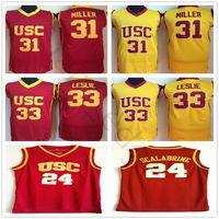 NCAA USC TROJANS # 24 Brian Scalabrine College Basketball Jerseys 31 Cheryl Miller 33 Lisa Leslie Red Yellow University Steyed Steinsey Shirt