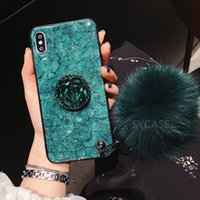 Atacado diamante marble marble phone cases para iphone x xr xs max 7 8 6 s plus titular anel de silicone capa para iphone xr xs