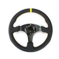 """ينشيء الساخن 13.5 """"(330MM) لالتوجيهية شقة عجلة القيادة سباق الجلود خياطة الصفراء لعبة خط عجلة يأتي مع زر قرن"""